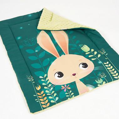 Kocyk dziecięcy minky - Zajączek - 75x100 Zielony kocyk dl dziecka z zajączkiem