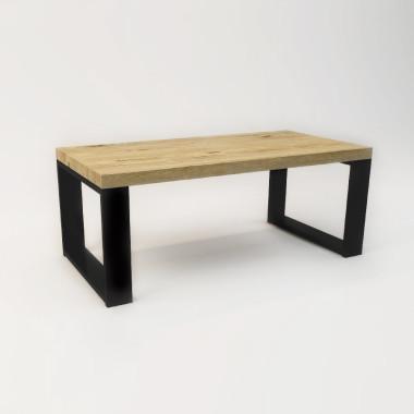 Stolik kawowy minimalistyczny- styl skandynawski, industrialny., loft. Blat drewniany z widocznymi słojami, czarny stelaż/nogi.