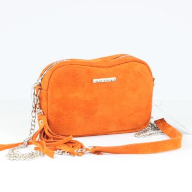 Torebka skórzana Fabioletka pomarańczowa welurowa-modna i elegancka- prezent dla dziewczyy