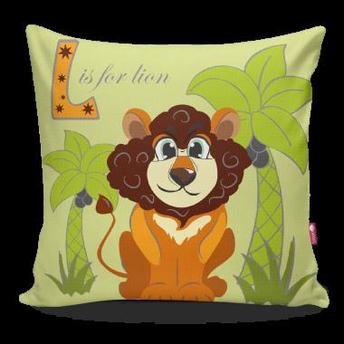 Miękka ozdobna poduszka do pokoju dziecka z kolorowym nadrukiem Safari Lew