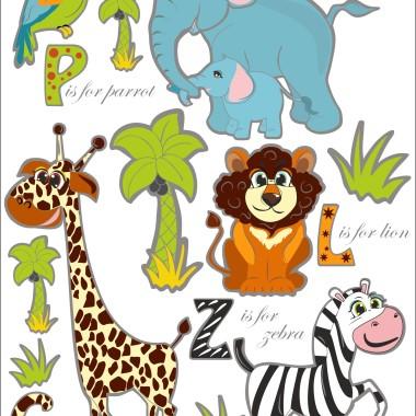 Naklejki na ścianę do pokoju dziecka-Safari -zwierzęta z Zoo