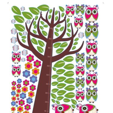 Naklejki na ścianę do pokoju dziecka-Igraszki sówki Grażki arkusz. Wklejane liście i miarka wzrostu.