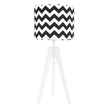 Lampa nocna na stolik trójnóg biała z abażurem chevron czarny