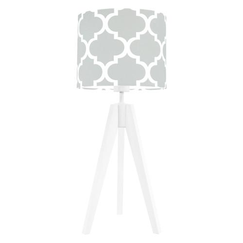 Lampa nocna na stolik trójnóg biała z abażurem koniczyna marokańska szara