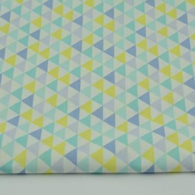 Zasłona MiniTrójkąty żółto-turkusowo-niebieskie