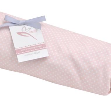 Prześcieradełko różowe w białe kropeczki
