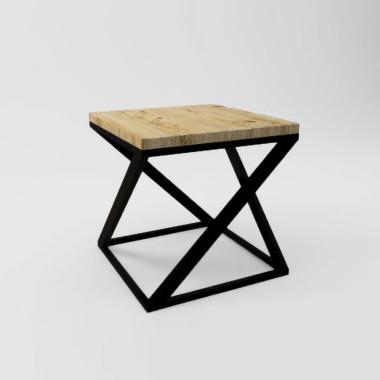 Stolik kawowy z drewna - styl skandynawski, industrialny., loft. Blat drewniany z widocznymi słojami, czarny stelaż/nogi.