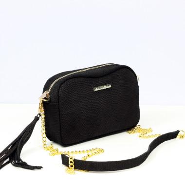 Mała czarna torebka skórzana na ramię Fabioletka black Dragon Gold- ze złotym łańcuszkiem.