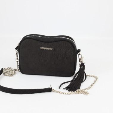 Mała czarna torebka welurowa na ramię Fabioletka black Dragon- Uniwersalna, wygodna, do noszenia w ręce oraz na ramieniu.Prezent dla kobiety.