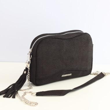 Mała czarna torebka skórzana na ramię Fabulous black Dragon- Uniwersalna, wygodna,elegancka. Pomysł na prezent