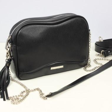 Mała czarna torebka skórzana na ramię Fabulous black- Uniwersalna, wygodna,elegancka. Pomysł na prezent