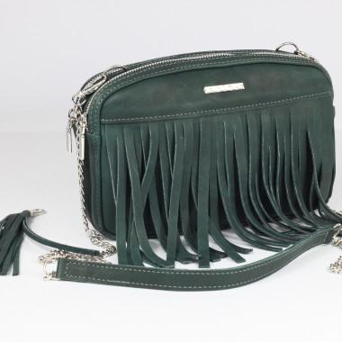 Mała zielona torebka skórzana na ramię z frędzlami black- Uniwersalna, wygodna,elegancka. Pomysł na prezent
