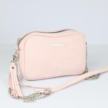 Modna i elegancka skórzana torebka – skóra nubukowa- pudrowy róż, łańcuszek.