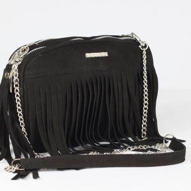 Mała czarna torebka skórzana na ramię z frędzlami black- Uniwersalna, wygodna,elegancka. Pomysł na prezent
