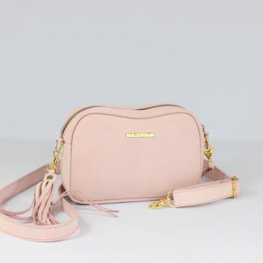 Modna i elegancka skórzana torebka – skóra nubukowa- pudrowy róż,złoty łańcuszek.