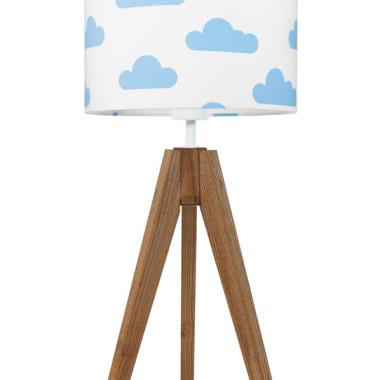 youngDECO lampa na stolik trójnóg dębowy chmurki błękitne