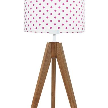 youngDECO lampa na stolik trójnóg dębowy grochy amarantowe
