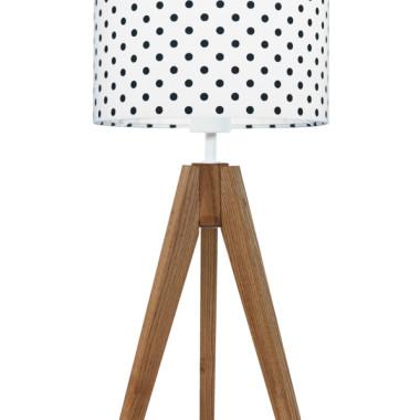 youngDECO lampa na stolik trójnóg dębowy grochy czarne