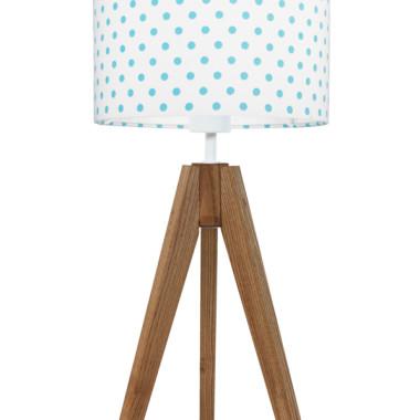 youngDECO lampa na stolik trójnóg dębowy grochy turkusowe