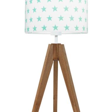 youngDECO lampa na stolik trójnóg dębowy gwiazdki miętowe