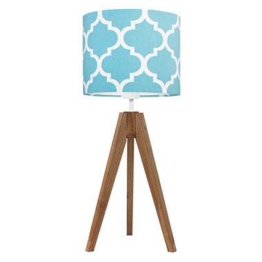 youngDECO lampa na stolik trójnóg dębowy koniczyna marokańska turkusowa