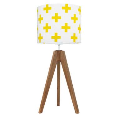 youngDECO lampa na stolik trójnóg dębowy krzyżyki żółte