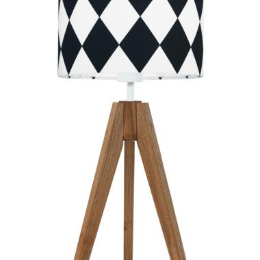 youngDECO lampa na stolik trójnóg dębowy romby czarne