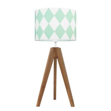 youngDECO lampa na stolik trójnóg dębowy romby miętowe
