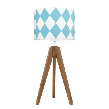youngDECO lampa na stolik trójnóg dębowy romby turkusowe