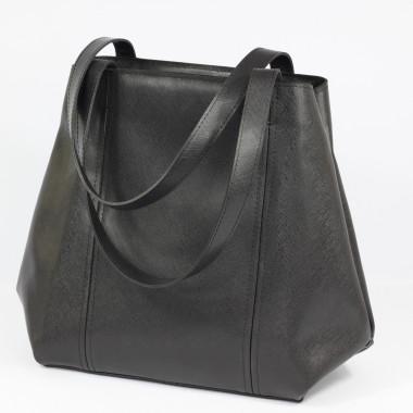 Duża torebka typu Shopper Bag, wykonana ze skóry naturalnej.Czarna. Blog.