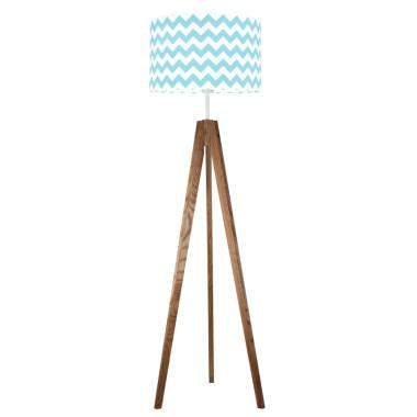 youngDECO lampa podłogowa trójnóg dębowy chevron turkusowy