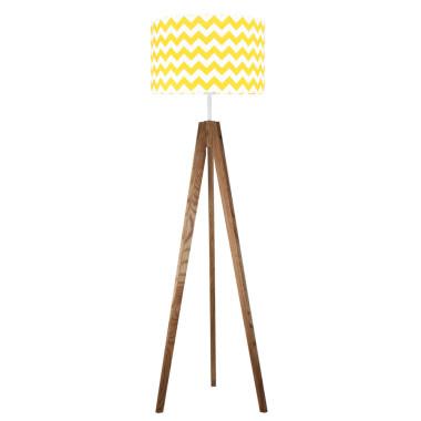 Chevron żółty - lampa podłogowa trójnóg dębowa olejowana.Young Deco