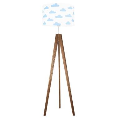 youngDECO lampa podłogowa trójnóg dębowy chmurki błękitne
