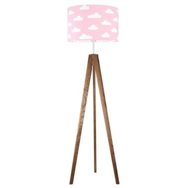 youngDECO lampa podłogowa trójnóg dębowy chmurki na różowym
