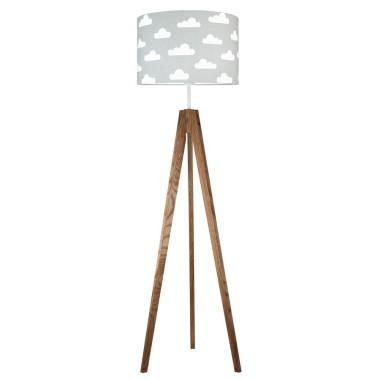 youngDECO lampa podłogowa trójnóg dębowy chmurki na szarym