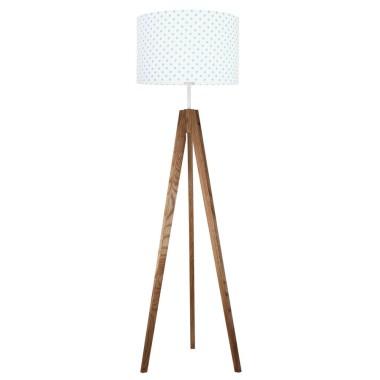 youngDECO lampa podłogowa trójnóg dębowy grochy turkusowe