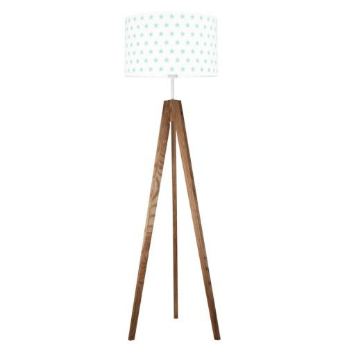 youngDECO lampa podłogowa trójnóg dębowy gwiazdki miętowe