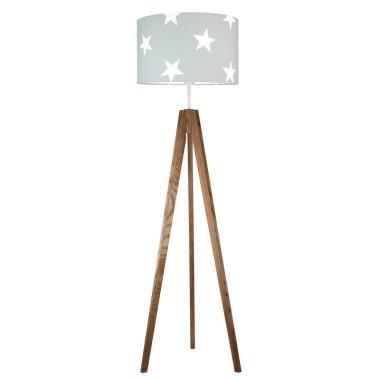 youngDECO lampa podłogowa trójnóg dębowy gwiazdy na szarym