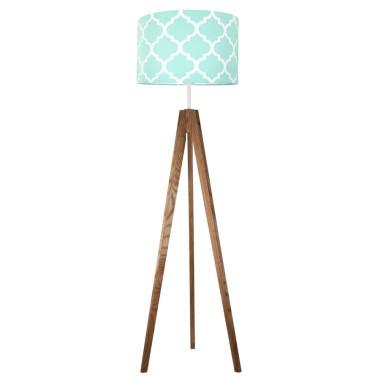 Koniczyna maokańska miętowa - lampa podłogowa trójnóg dębowa olejowana.Young Deco