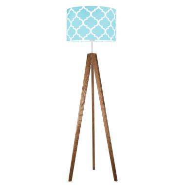 Koniczyna maokańska turkusowa - lampa podłogowa trójnóg dębowa olejowana.Young Deco
