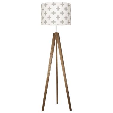 youngDECO lampa podłogowa trójnóg dębowy krzyżyki szare