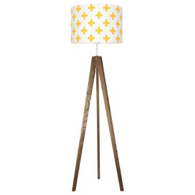 youngDECO lampa podłogowa trójnóg dębowy krzyżyki żółte