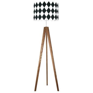 youngDECO lampa podłogowa trójnóg dębowy romby czarne