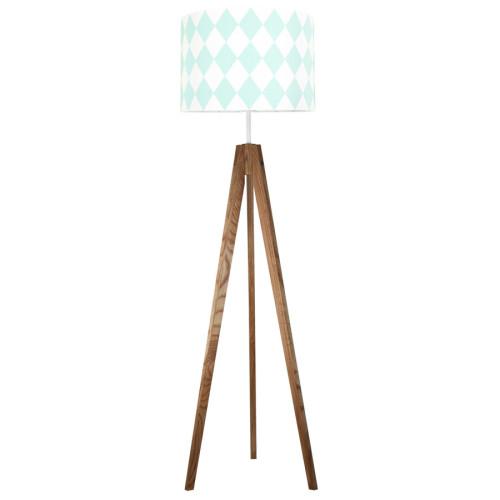 youngDECO lampa podłogowa trójnóg dębowy romby miętowe