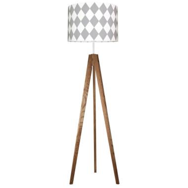 youngDECO lampa podłogowa trójnóg dębowy romby szare
