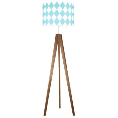 youngDECO lampa podłogowa trójnóg dębowy romby turkusowe