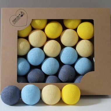 Zestaw składający się z kolorowych kulek vanilla, yellow, baby blue, jeans blue