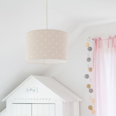 Oryginalna lampa wisząca/ żyrandol do pokoju dzieci z kolorowym abażurem- beżowa w kropki