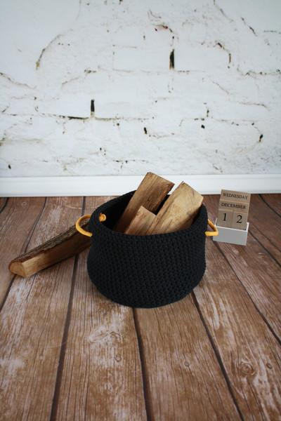 Ręcznie robiony na drutach  kosz w stylu skandynawski, loft