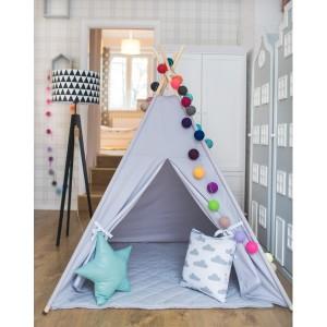 Namiot tipi-do pokoju dziecięcego, z drewnianym stelażem.Szary z okienkiem.